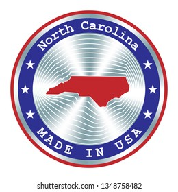 Made in North Carolina seal or stamp. Round hologram sign for label design and national marketing.