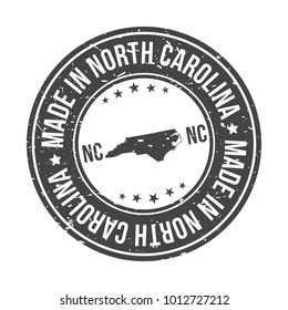 Made in North Carolina State USA Quality Original Stamp Design Vector Art Tourism Souvenir Round.