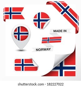 Made in Norway collection of ribbon, label, stickers, pointer, badge, icon and page curl with Norwegian flag symbol on design element. Vector EPS 10 illustration isolated on white background.