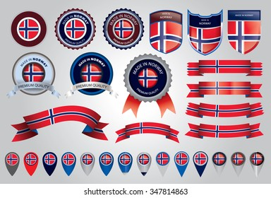 Made in Norway Seal, Norwegian Flag (Vector Art)