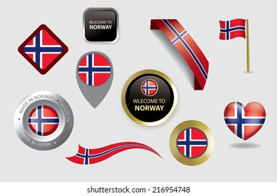 Made in Norway seals, Norwegian Flag (vector Art)