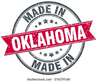 made in Oklahoma red round vintage stamp