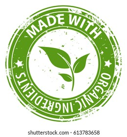 Made with Organic Natural ingredients green round rubber stamp icon isolated on white background. Healthy fresh food symbol. Vector illustration