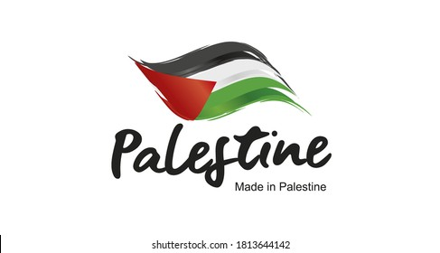 Made in Palestine handwritten flag ribbon typography lettering logo label banner