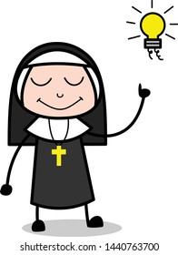 Made a Plan - Cartoon Nun Lady Vector Illustration