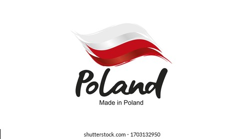 Made in Poland handwritten flag ribbon typography lettering logo label banner