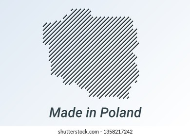 Made in Poland, striped map in a black strip on a silver background. vector illustration