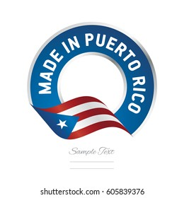 Made in Puerto Rico flag blue color label logo icon