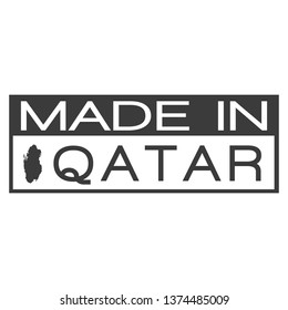 Made In Qatar. Stamp Rectagle Map. Logo Icon Symbol. Design Certificated.