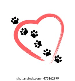 Made of red heart with dog paw print vector illustration background