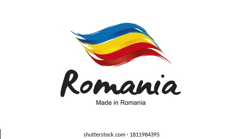 Made in Romania handwritten flag ribbon typography lettering logo label banner