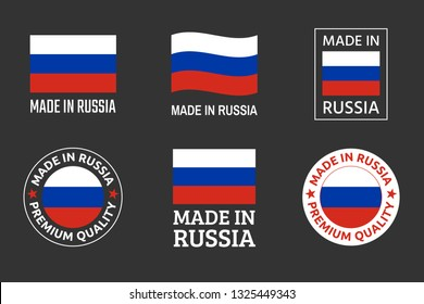 made in Russia labels set, Russian product emblem
