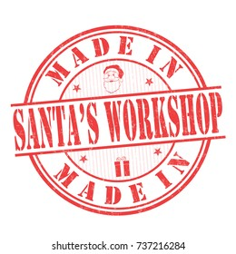 Made in Santa's Workshop grunge rubber stamp on white background, vector illustration