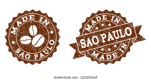Made In Sao Paulo rubber stamps. Vector seals in chocolate color with round, ribbon, rosette, coffee bean elements. Grainy design and retro texture are used for Made In Sao Paulo rubber imprints.