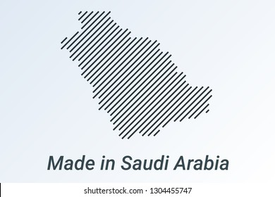 Made in Saudi Arabia, striped map in a black strip on a silver background. vector illustration
