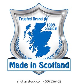 Made in Scotland, Premium Quality, Satisfaction Guaranteed, 100% original - shield shape label with the national Scottish flag and the map of Scotland on the background.