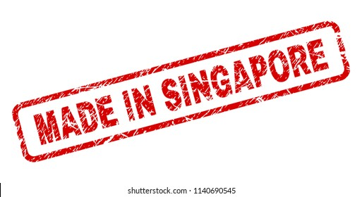 MADE IN SINGAPORE stamp seal print with distress style. Red vector rubber print of MADE IN SINGAPORE tag with dust texture. Text tag is placed inside rounded rectangle frame.