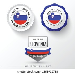 Made in Slovenia icon set isolated on white background ,for infographics and banner templates : Vector Illustration