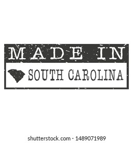 Made In South Carolina. Stamp Rectangle Map. Logo Icon Symbol. Design Certificated.