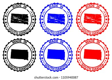 Made in South Dakota - rubber stamp - vector, South Dakota (United States of America) map pattern - black, blue and red
