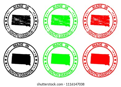 Made in South Dakota - rubber stamp - vector, South Dakota (United States of America) map pattern - black, green and red