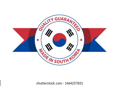 Made in South Korea quality stamp. Vector illustration. Seoul