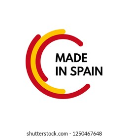 made in spain, 3 colors arcs vector logo on white background