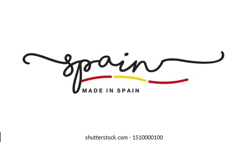 Made in Spain handwritten calligraphic lettering logo sticker flag ribbon banner