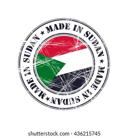 Made in Sudan grunge rubber stamp with flag