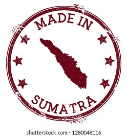 Made in Sumatra stamp. Grunge rubber stamp with Made in Sumatra text and island map. Immaculate vector illustration.