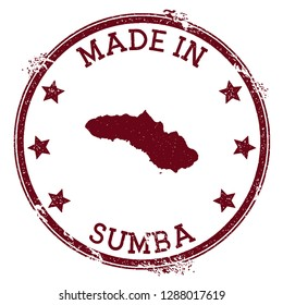 Made in Sumba stamp. Grunge rubber stamp with Made in Sumba text and island map. Incredible vector illustration.