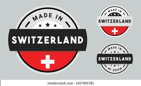 Made in Switzerland collection of ribbon, label, stickers, badge, icon and page curl with Switzerland flag symbol.