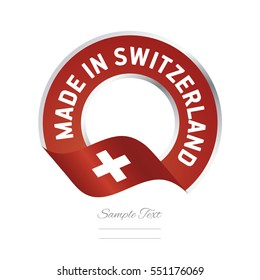 Made in Switzerland flag red color label button banner