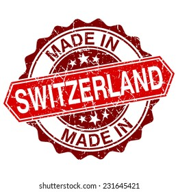made in Switzerland red stamp isolated on white background