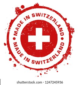 Made in Switzerland Stamp. Vector Illustration Sign.