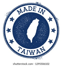 Made in Taiwan stamp. Grunge rubber stamp with Made in Taiwan text and country map. Majestic vector illustration.