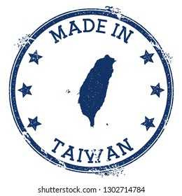 Made in Taiwan stamp. Grunge rubber stamp with Made in text and country map. Marvelous vector illustration.