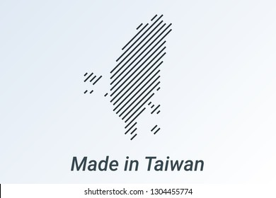 Made in Taiwan, striped map in a black strip on a silver background. vector illustration