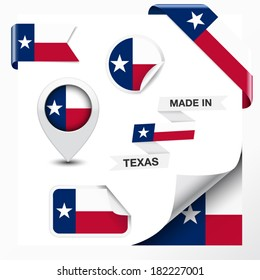 Made in Texas collection of ribbon, label, stickers, pointer, badge, icon and page curl with Texan flag symbol on design element. Vector EPS 10 illustration isolated on white background.