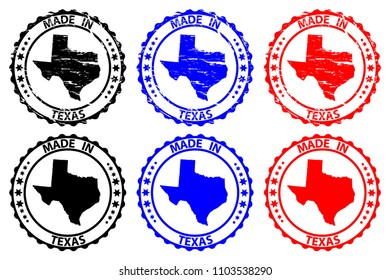 Made in Texas- rubber stamp - vector, Texas (United States of America) map pattern - black, blue and red