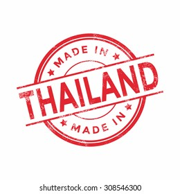 Made in Thailand red vector graphic. Round rubber stamp isolated on white background. With vintage texture.