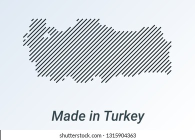 Made in Turkey, striped map in a black strip on a silver background. vector illustration