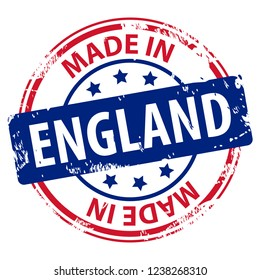 Made in UK or England rubber stamp icon isolated on white background. Manufactured or Produced in United Kingdom or Great Britain and Northern Ireland. Vector illustration