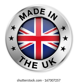 Made in The UK silver badge and icon with central glossy United Kingdom flag symbol and stars. Vector EPS10 illustration isolated on white background.