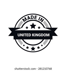 Made in United Kingdom - Round black rubber stamp design isolated on white background. vector illustration vintage texture. Vector illustration