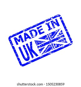 Made in united kingdom rubber stamp. Made in england rubber seal, english product watermark, grunge seal blue illustration