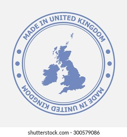 Made in United Kingdom seal. Sign of production. Vector illustration EPS8