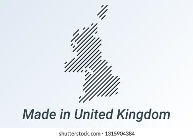 Made in United Kingdom, striped map in a black strip on a silver background. vector illustration