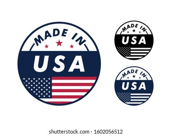 Made in USA with and america flag for label, stickers, badge