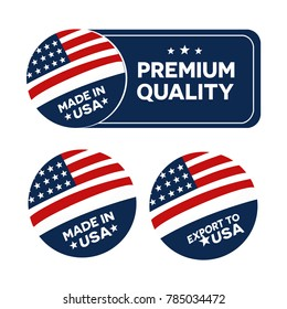 Made in USA America, flyer, sign and symbol